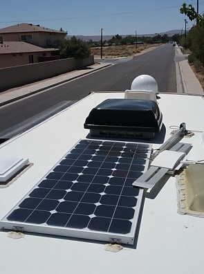 Solar panel and satellite dish